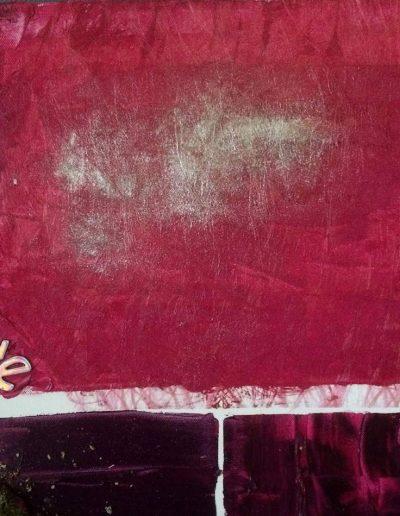 Color Abstraction. 40 x 40 cm. Olie på lærred med fx. Væv,sand, natursten, aske, farvepulver, papir, gaze, applikationer, krydderier, håndlavet indisk stof, perler, kartet uld, bark